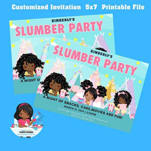 Slumber Party Invitation|  pajama party | Sleepover Birthday Invitations, Tween Girls - CUSTOM PARTY FAVORS
