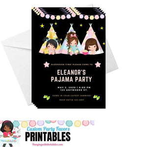 Girls Slumber Party Invitation|  pajama party | Sleepover Birthday Invitations - CUSTOM PARTY FAVORS
