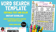 Load image into Gallery viewer, Word Search Template Puzzle Editable Instant Download | Activities for kids Editable Template - CUSTOM PARTY FAVORS