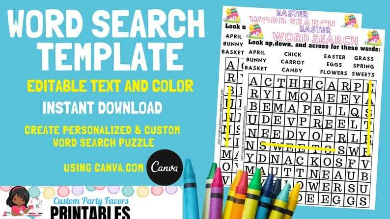 Word Search Template Puzzle Editable Instant Download | Activities for kids Editable Template - CUSTOM PARTY FAVORS