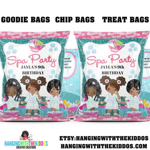 Spa Party for Girls Personalized Spa Chip Bag Template - CUSTOM PARTY FAVORS