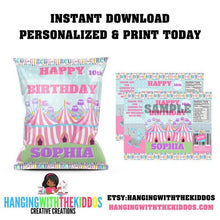 Load image into Gallery viewer, Personalized Pastel Carnival Circus Birthday Party Favors Chip Bag Template - CUSTOM PARTY FAVORS