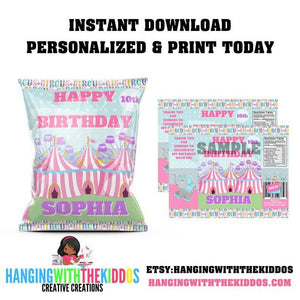 Personalized Pastel Carnival Circus Birthday Party Favors Chip Bag Template - CUSTOM PARTY FAVORS