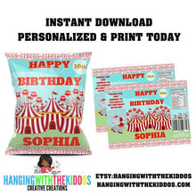 Load image into Gallery viewer, Personalized Carnival Circus Birthday Party Favors Chip Bag Template - CUSTOM PARTY FAVORS
