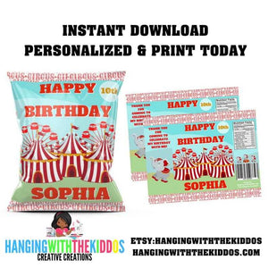 Personalized Carnival Circus Birthday Party Favors Chip Bag Template - CUSTOM PARTY FAVORS