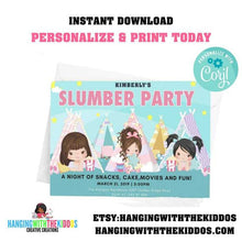 Load image into Gallery viewer, Girls Slumber Party Invitation|  pajama party | Sleepover Birthday Invitations - CUSTOM PARTY FAVORS