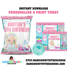 Load image into Gallery viewer, Girls Spa Decor Custom Party Favors Chip Bags - CUSTOM PARTY FAVORS