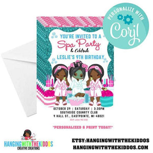 Black Girls Spa Party Invitations | Spa Birthday Party  printable invitation | 5X7 - CUSTOM PARTY FAVORS