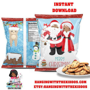 Christmas Goodie Bags | Cookie Bags |Chip Bags Black Mr. & Mrs Santa Claus - CUSTOM PARTY FAVORS