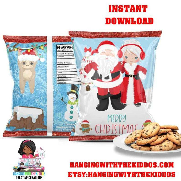 Christmas Goodie Bags | Cookie Bags |Chip Bags  Mr. & Mrs Santa Claus - CUSTOM PARTY FAVORS