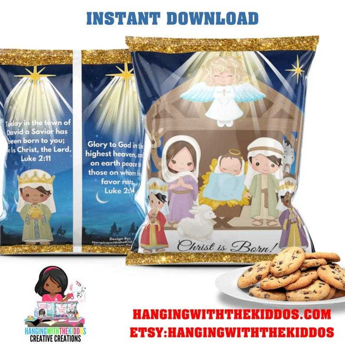 Christmas Party Nativity scene  Goodie Bags | Cookie Bags | Chip Bags Template Printable - CUSTOM PARTY FAVORS