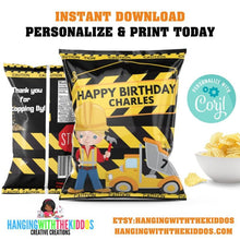 Load image into Gallery viewer, Construction Birthday Party  Personalized Chip Bags - CUSTOM PARTY FAVORS