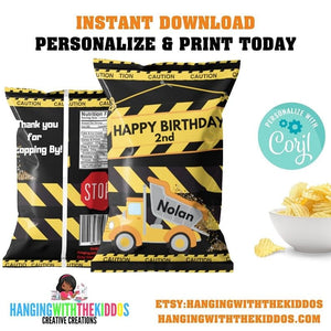 Custom Treat Bags Construction Birthday Party| Personalize Construction Boy Chip Bags|Goodie Bags Label Template - CUSTOM PARTY FAVORS