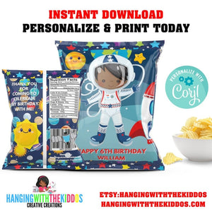 Little Space African American Astronaut|  Personalized Party Favors Chip Bags HWTK - CUSTOM PARTY FAVORS