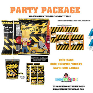 Construction Birthday Party  Personalized Chip Bags - CUSTOM PARTY FAVORS