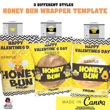 Load image into Gallery viewer, Honey Bun  Wrapper  Blank Template |  Canva Editable Template - CUSTOM PARTY FAVORS