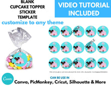 Load image into Gallery viewer, Blank Cupcake Topper Template Instant Download | 2 inch Circle Template | Round Stickers Template - CUSTOM PARTY FAVORS
