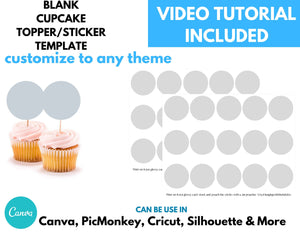 Blank Cupcake Topper Template Instant Download | 2 inch Circle Template | Round Stickers Template