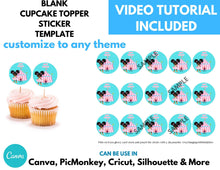 Load image into Gallery viewer, Blank Cupcake Topper Template Instant Download | 2 inch Circle Template | Round Stickers Template