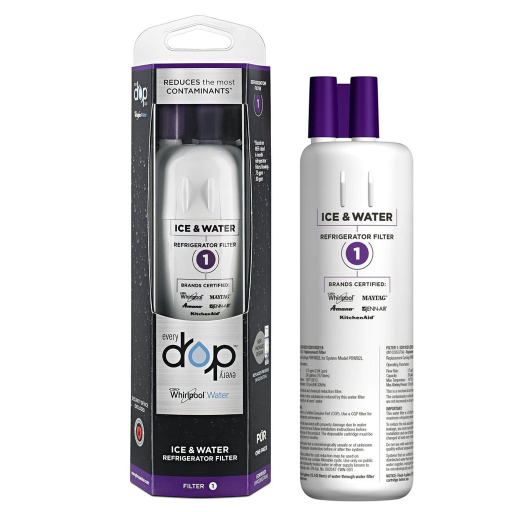 1pack Genuine Whirlpool Edr1rxd1 Drop 1 W10295370a Refrigerator Water Filter 1 Cartridge Sealed