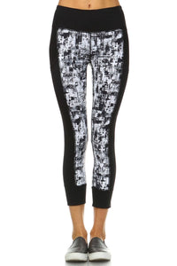 Block Cuffed Capri Leggings