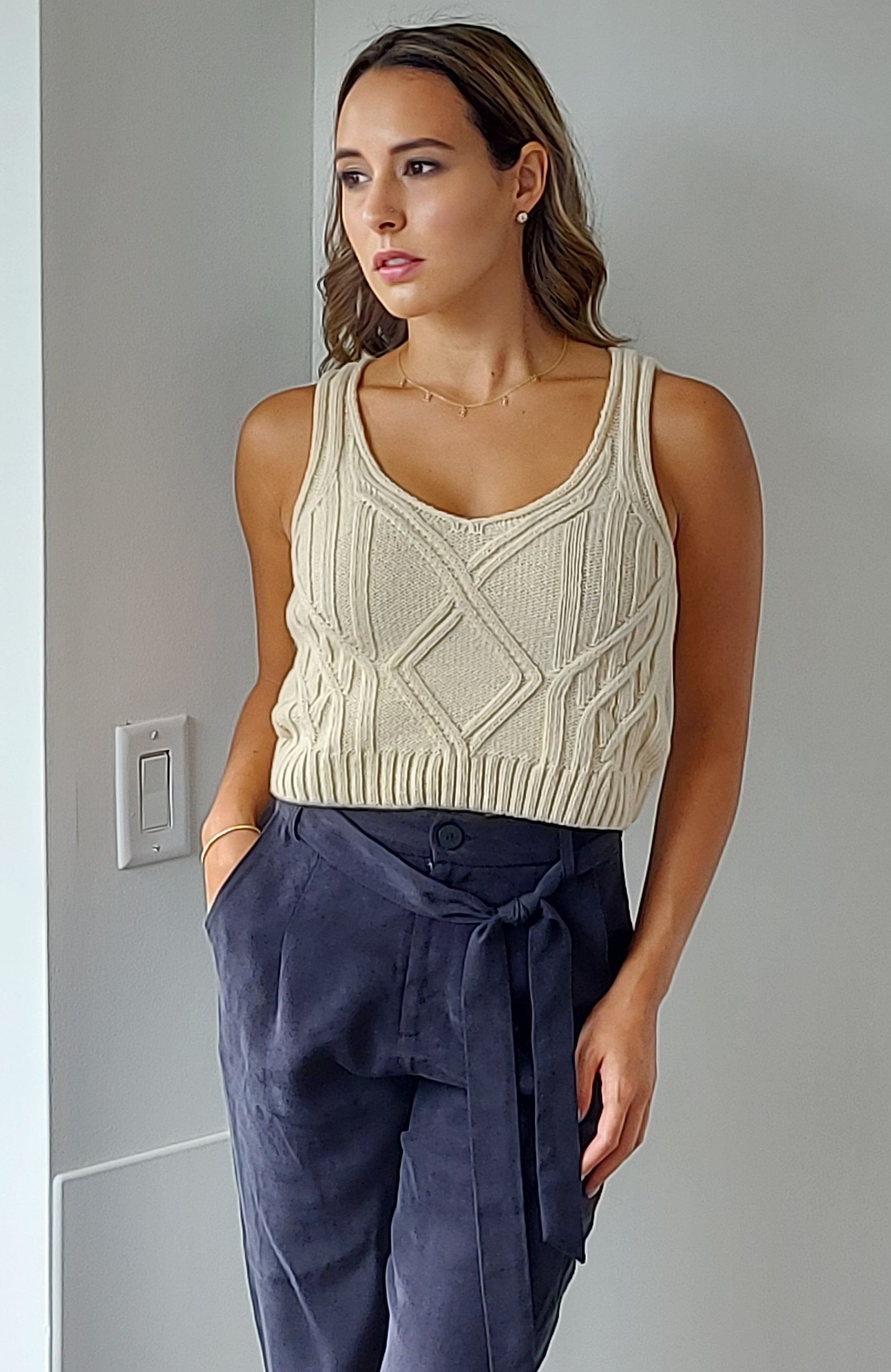 Abla Crop Top in Ecru