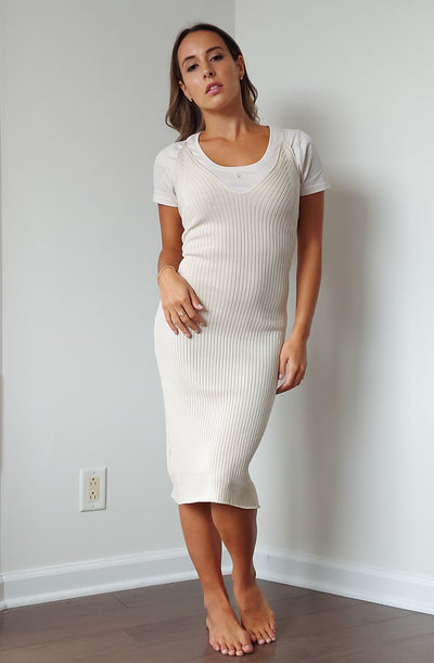 Damla Knit Dress in Ecru