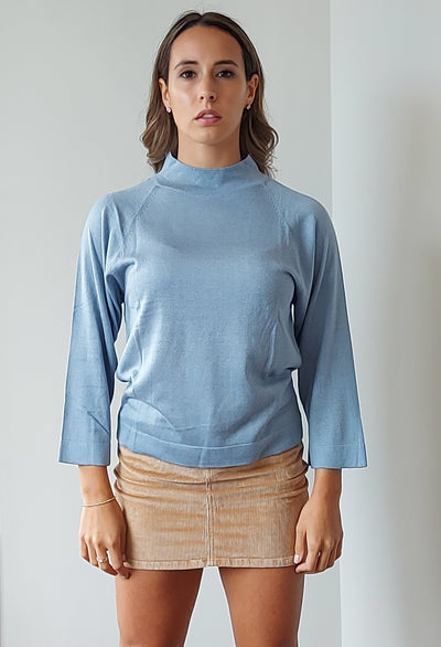 Livo Turtle Neck Top in Sky Blue