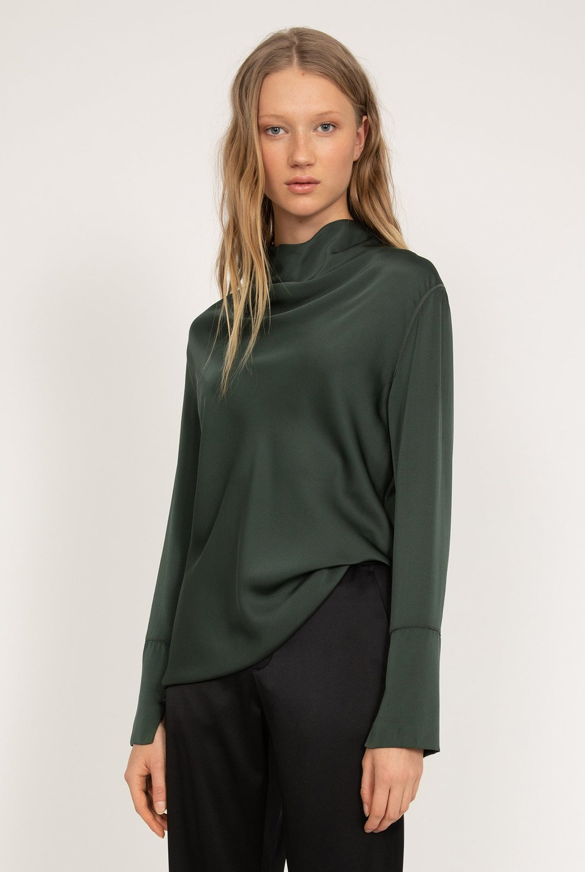 Ahlvar Gallery Ayumi Blouse in Military Green with long sleeves and a draped, bias-cut front.