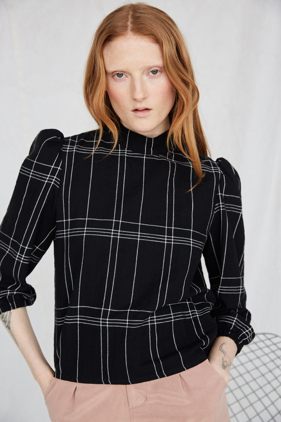 Eve Gravel Lost City Top in Black/White Plaid with mock neck and puffed sleeves