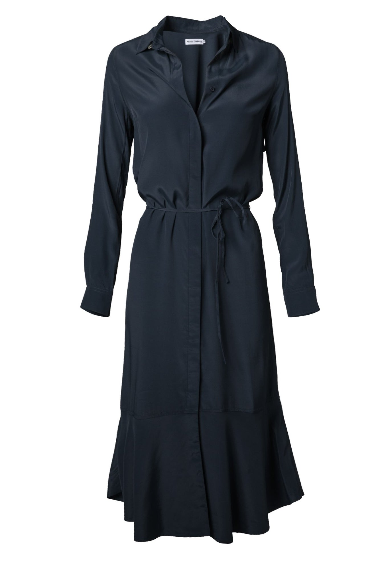 Ahlvar Gallery Li Dress in Blue Grey with long sleeves and a loose hanging back yoke.