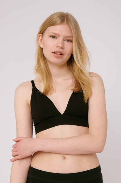 Organic Basics Organic Cotton Triangle Bra in Black with a deep V-neckline and adjustable straps.