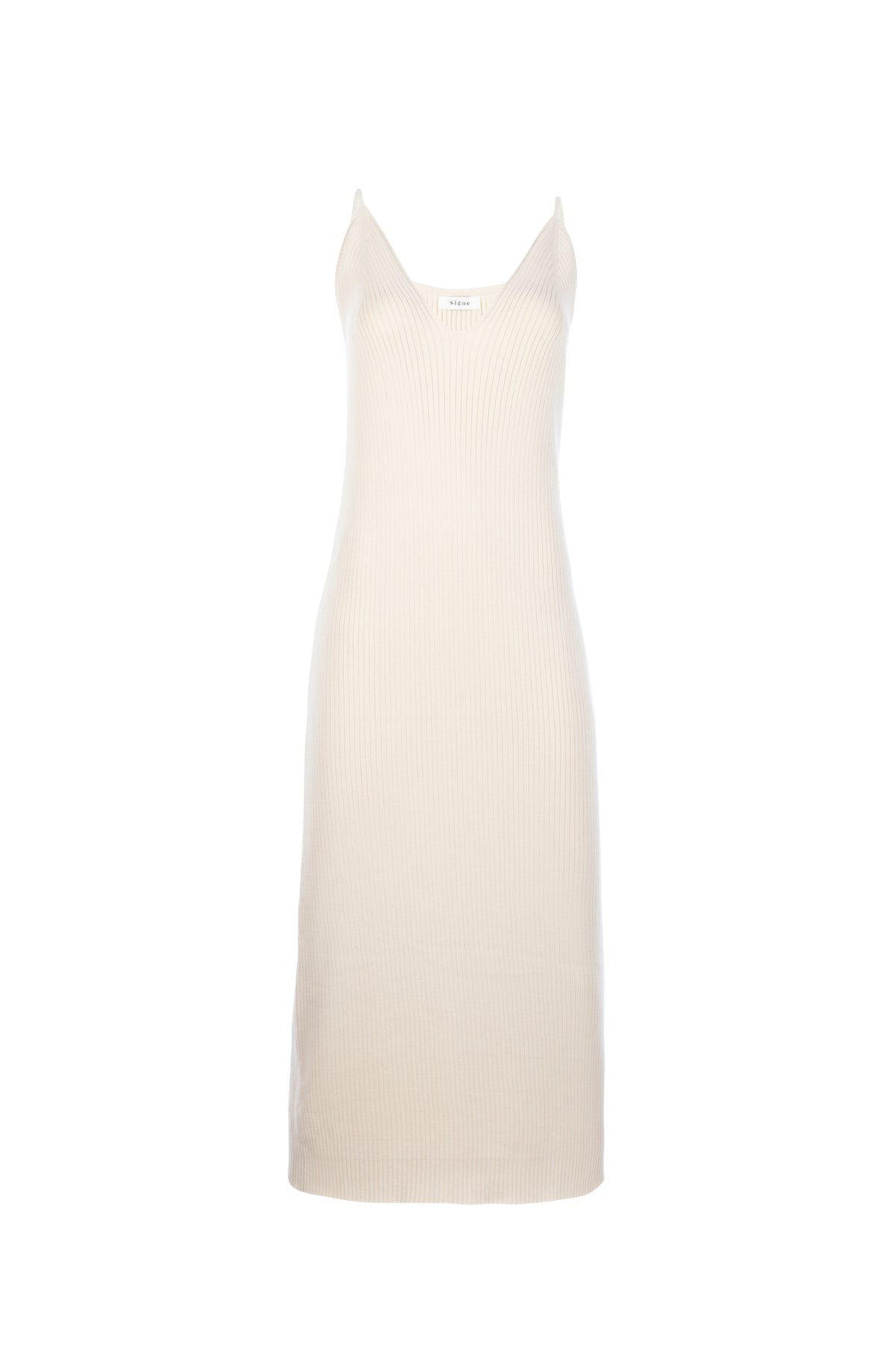 By Signe Damla Knit Dress in Ecru with a fitted silhouette crafted of ribbed knit