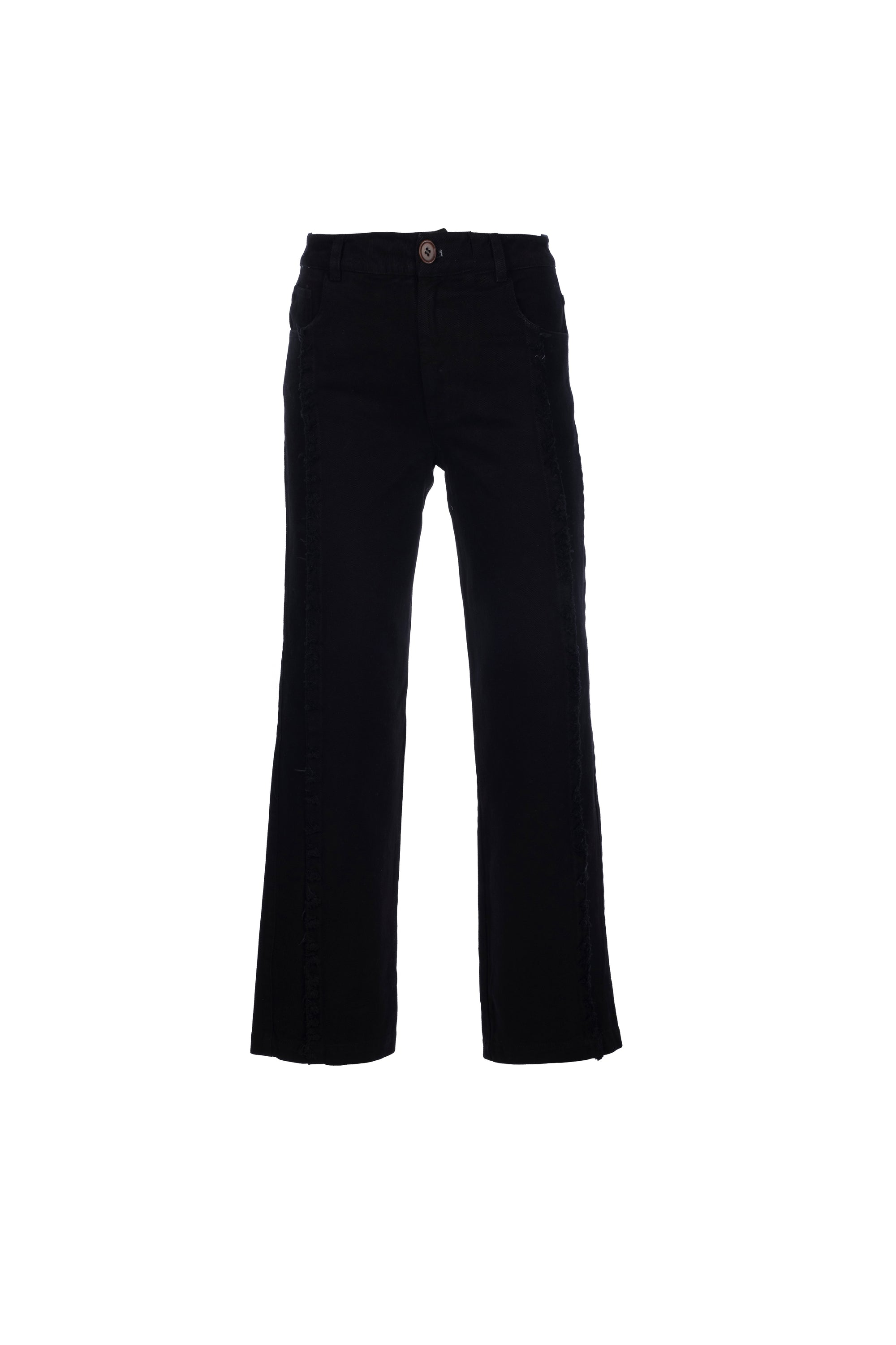 By Signe Berta Jeans in Black with straight legs and raw-edge side seams.