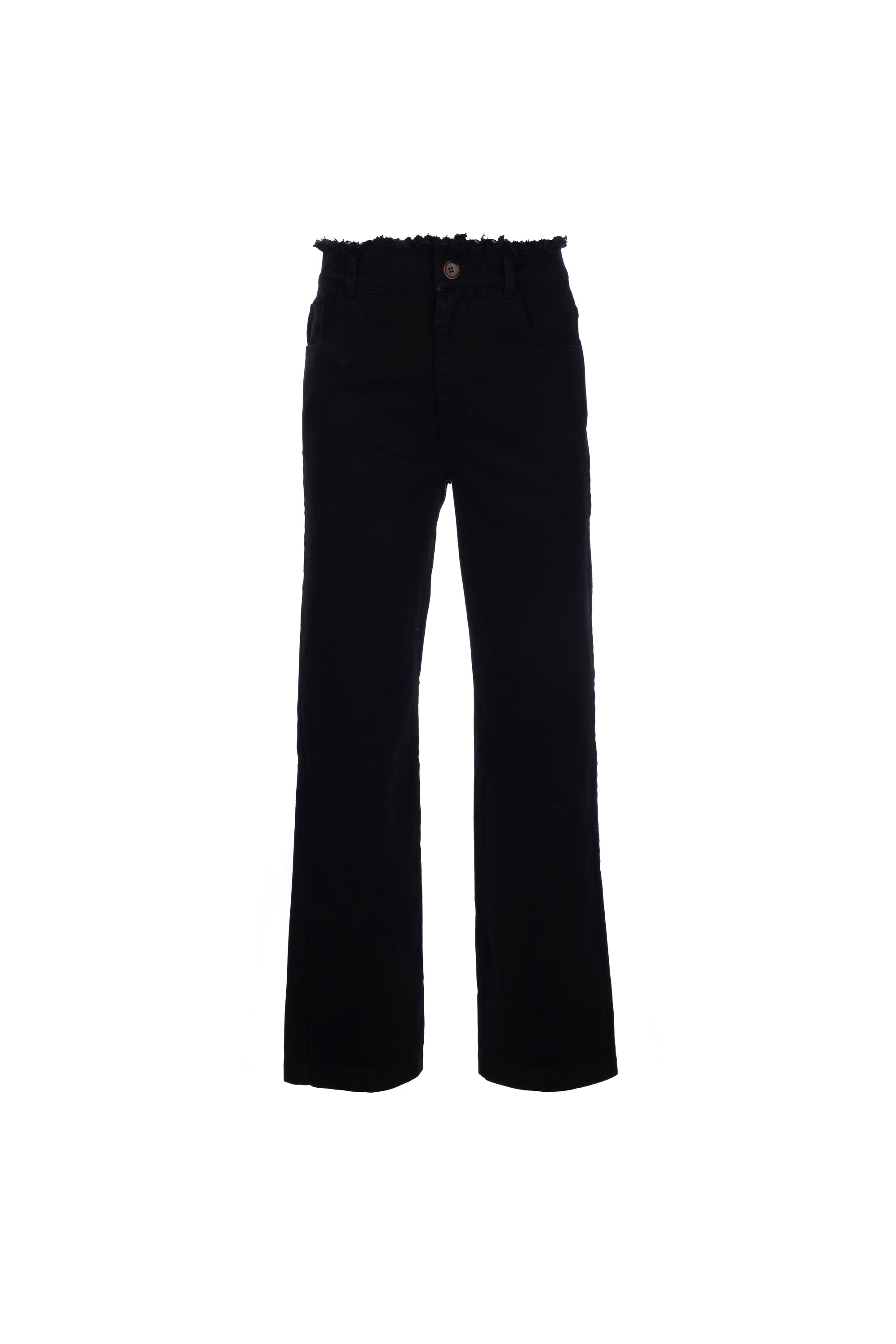 By Signe Sage Jeans in Black with flared legs and a raw-edge waist.
