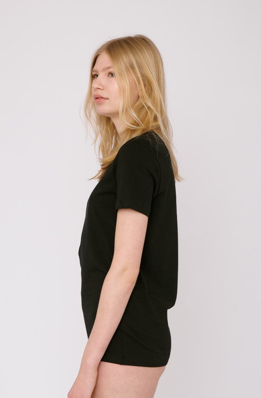 Organic Basics Organic Cotton Tee in Black with a relaxed fit made of 100% organic cotton