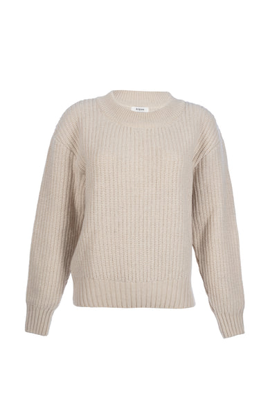 By Signe Coco Sweater in Ecru with a crewneck and long sleeves