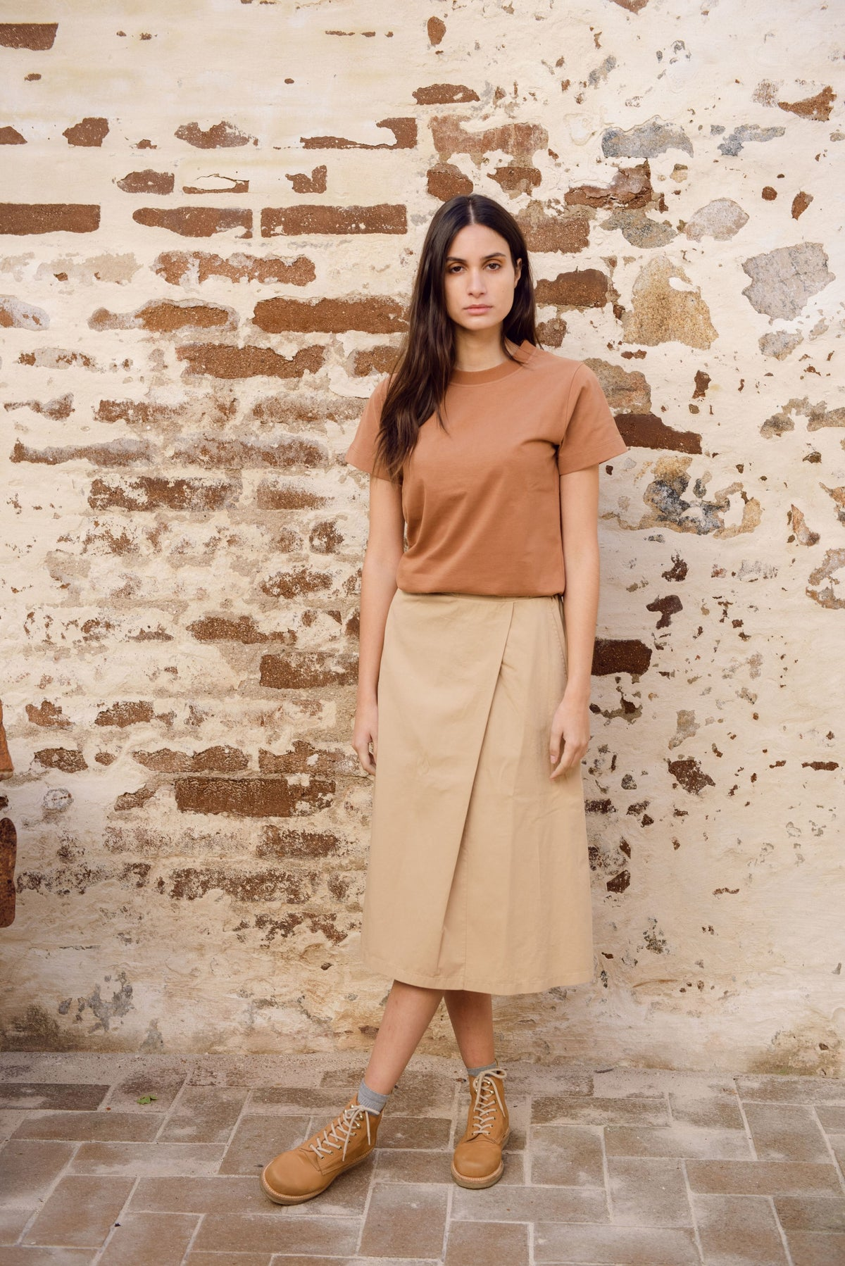 Beaumont Organic Maliah Top in Tan with a casual T-shirt style made of 100% organic cotton jersey