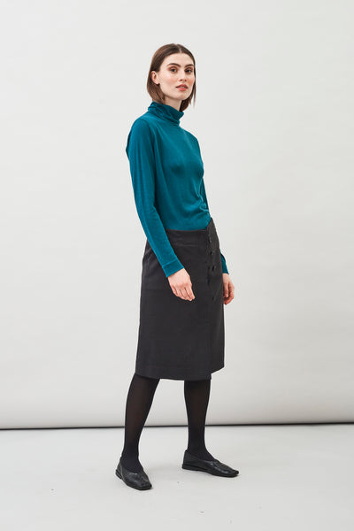 Loka Roll Neck Sweater in Peacock Blue