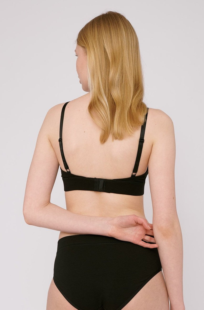 Organic Cotton Triangle Bra in Black
