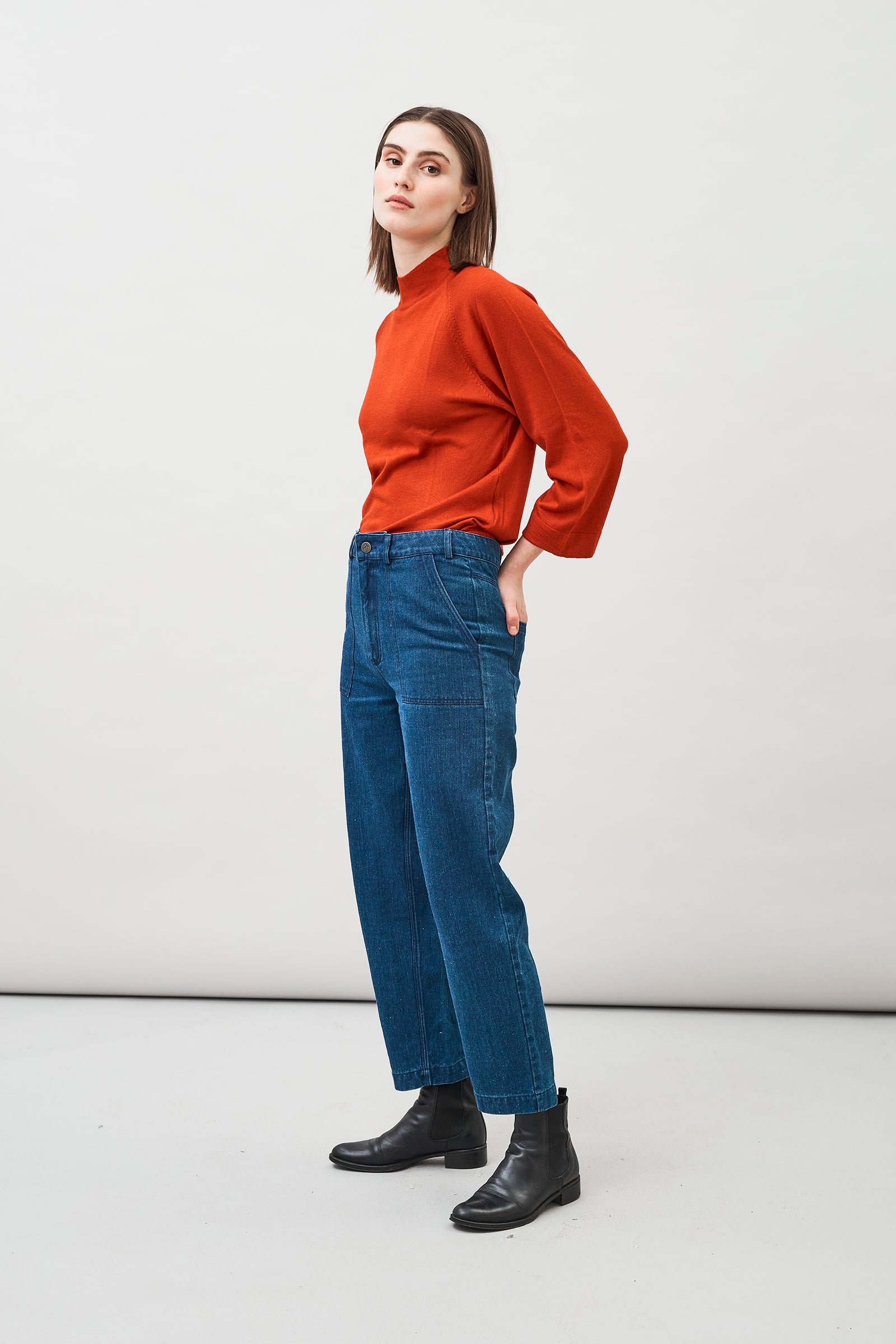 Rami Hemp Organic Cotton Barrel-Leg Jeans with a workwear style and classic back pockets