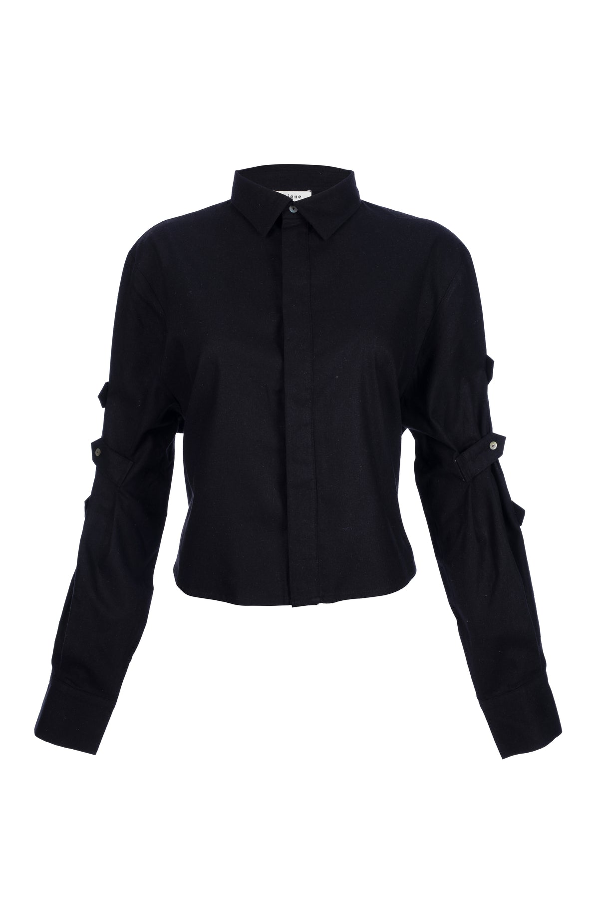 By Signe Dandie Shirt in Black with a cropped silhouette and button-accented sleeves