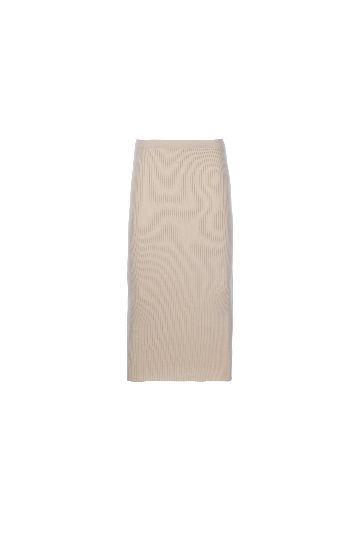 By Signe Damla Knit Skirt in Ecru with a midi silhouette made of stretchy ribbed knit