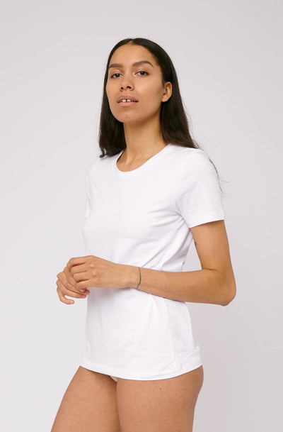 Organic Basics Organic Cotton Tee in White with a relaxed fit made of 100% organic cotton.