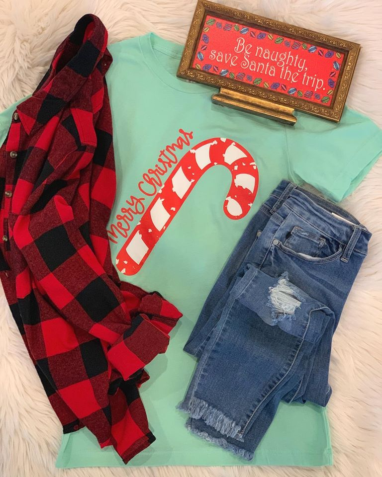 Mint Candy Cane Tee