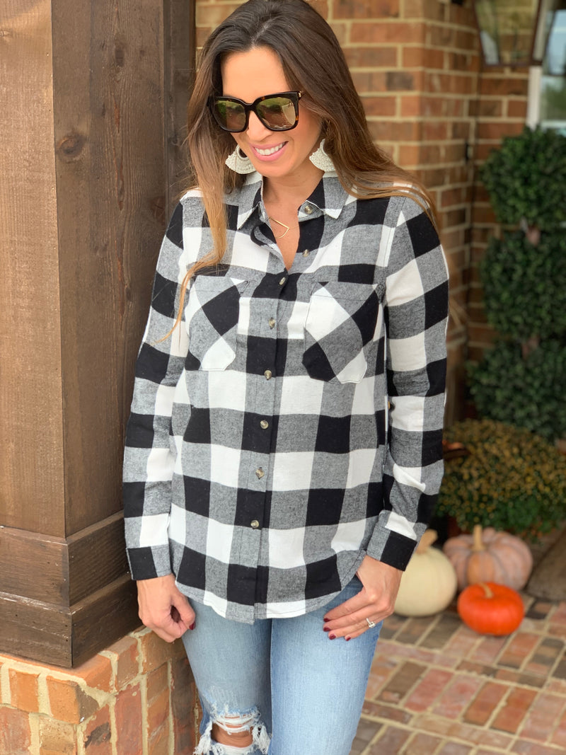 Cream/Black Buffalo Plaid Top