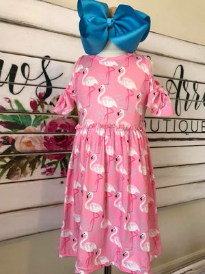 Pink Flamingo Cold Shoulder Dress