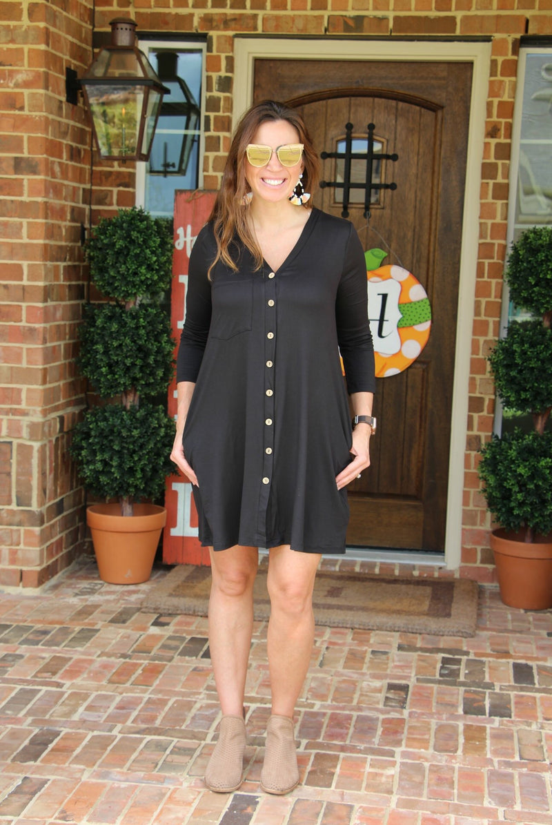 Black Wooden Button Dress