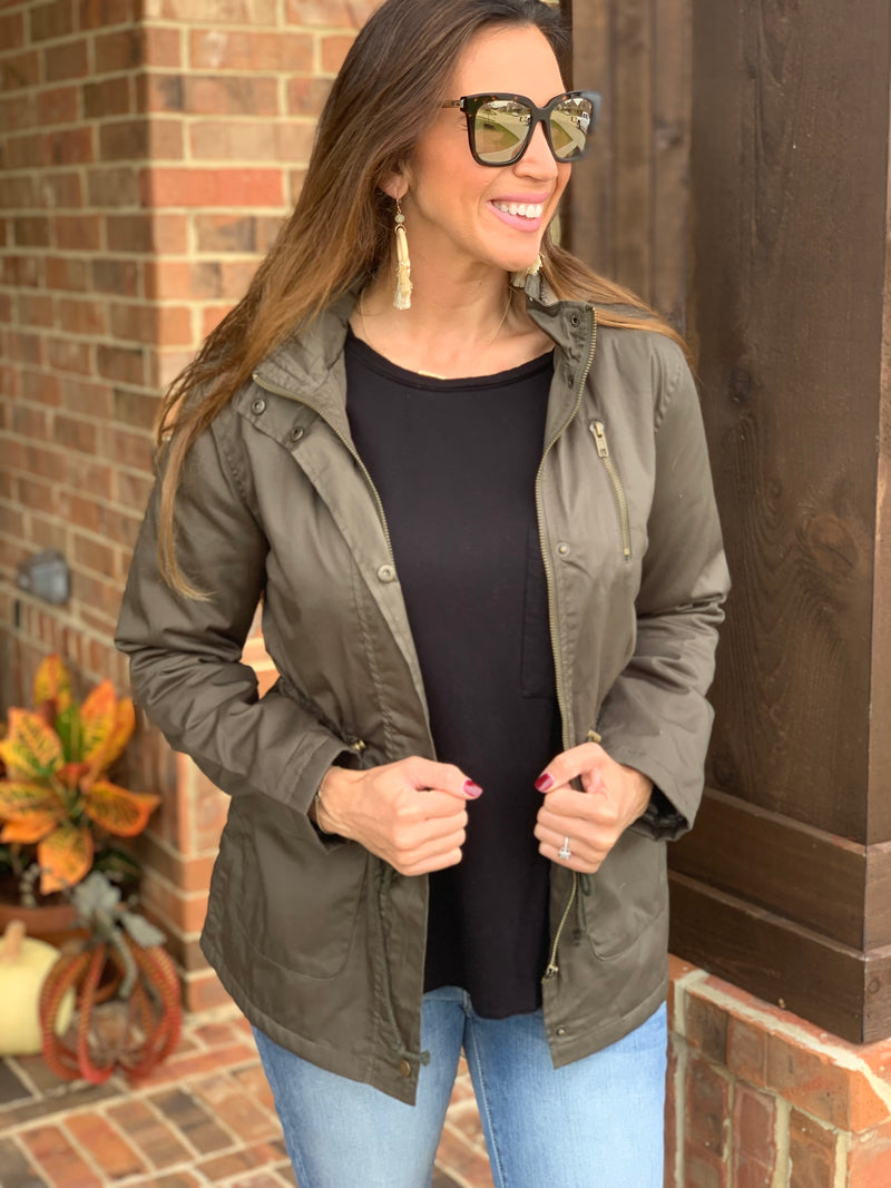 Fall Essential Jacket-Olive