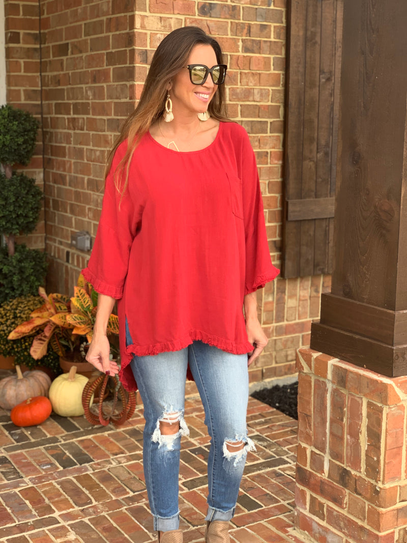 Slay The Day Tunic-Red